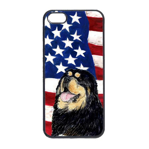Carolines Treasures SS4039IP4 USA American Flag With Tibetan Mastiff Iphone 4 Cover