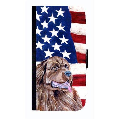 Carolines Treasures LH9024NBIP4 USA American Flag With Newfoundland Cell Phonebook Cover For Iphone 4 Or 4S
