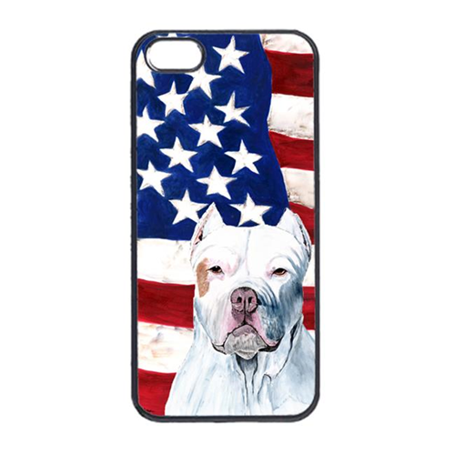 Carolines Treasures SC9026IP4 USA American Flag With Pit Bull Iphone 4 Cover