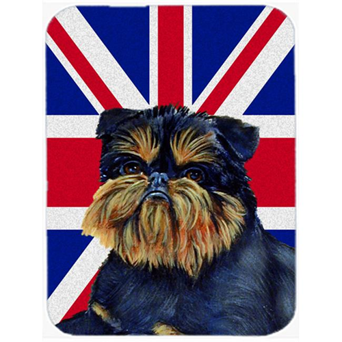 Carolines Treasures LH9505MP 7.75 x 9.25 In. Brussels Griffon With English Union Jack British Flag Mouse Pad Hot Pad Or Trivet
