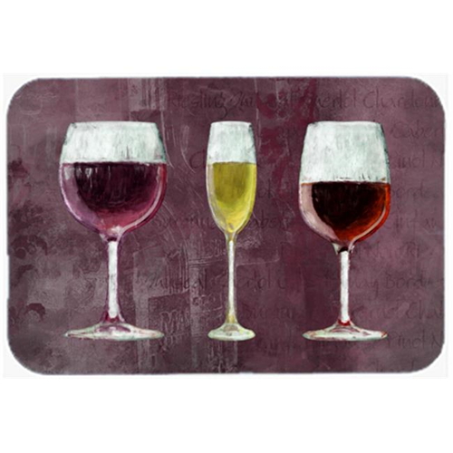 Carolines Treasures SB3073MP 7.75 x 9.25 In. Three Glasses Of Wine Purple Mouse Pad Hot Pad Or Trivet