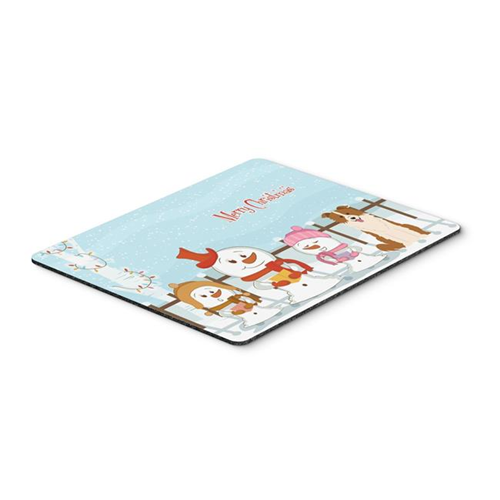 Carolines Treasures BB2450MP Merry Christmas Carolers Border Collie Red & White Mouse Pad Hot Pad or Trivet