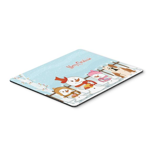 Carolines Treasures BB2456MP Merry Christmas Carolers English Bulldog Fawn White Mouse Pad Hot Pad or Trivet