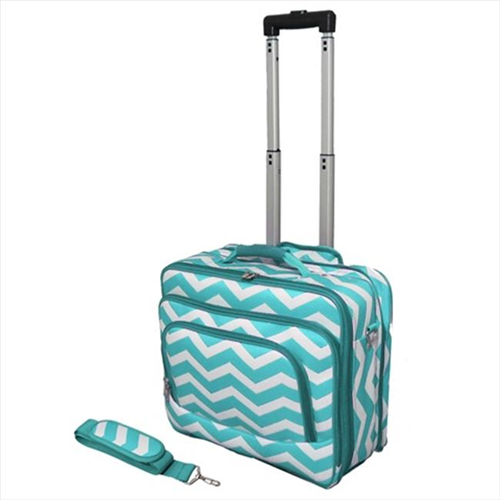 All-Seasons 813102-165LT-W 17 in. ZigZag Print Womens Rolling Laptop Case Turquoise Cream