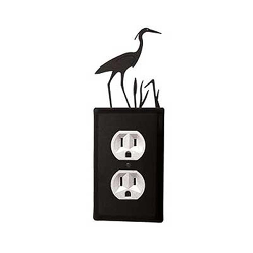 Village Wrought Iron EO-133 Heron Outlet Cover-Black