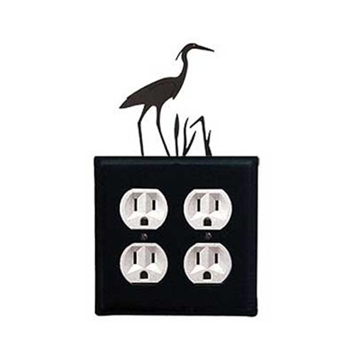 Village Wrought Iron EOO-133 Heron Double Outlet Cover - Black