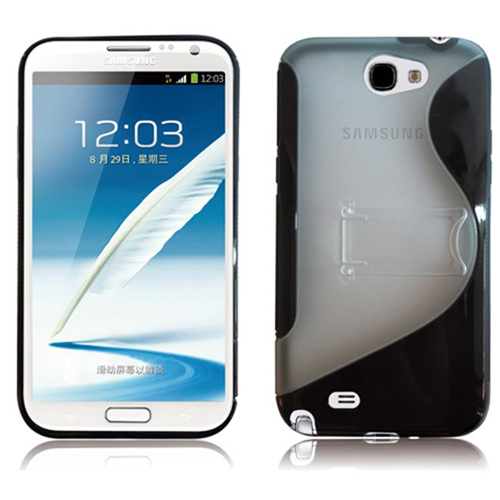 RND Accessories PC Plus TPU Protective Case For Samsung Galaxy Note II With Kickstand - Black & Transparent Clear