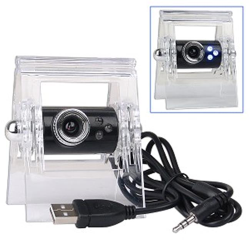 Next Products 85491 USB 2.0 Smart Webcam with 3 LEDs Built-in Microphone and Laptop LCD Clip-On in Black