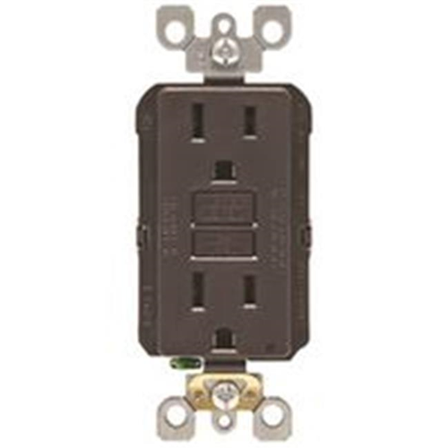 Leviton Mfg R00-GFNT1-00K 15A Outlet GFCI Self Test - 120V Brown