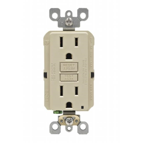 Leviton Mfg M01-GFNT1-03I 15 Amp Self-Test GFCI Outlet Wallplate Ivory