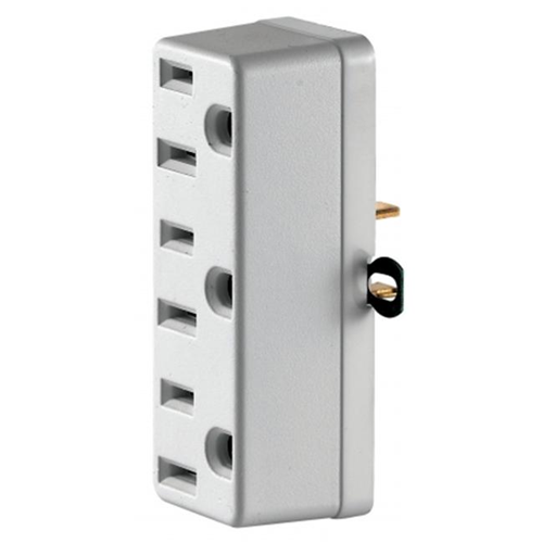 Leviton White Triple Tap Plug-In Outlet Adapter C22-00698-00W