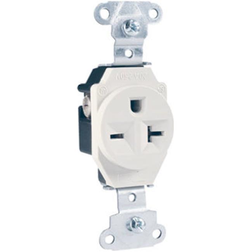 Pass & Seymour 5851WCC8 Heavy Duty Single Outlet 20A 250V White