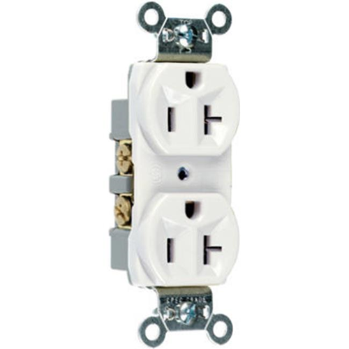 Pass & Seymour CRB5362WCC12 Heavy Duty Duplex Outlet 20A White