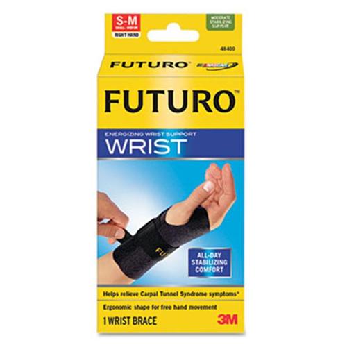 3M 48400EN Energizing Wrist Support Small/Medium Fits Right Wrists 5 1/2'' - 6 3/4'' Black