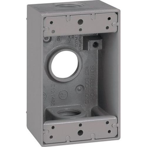 Sigma 14252 1 Gang Gray Rectangle Weatherproof Outlet Box