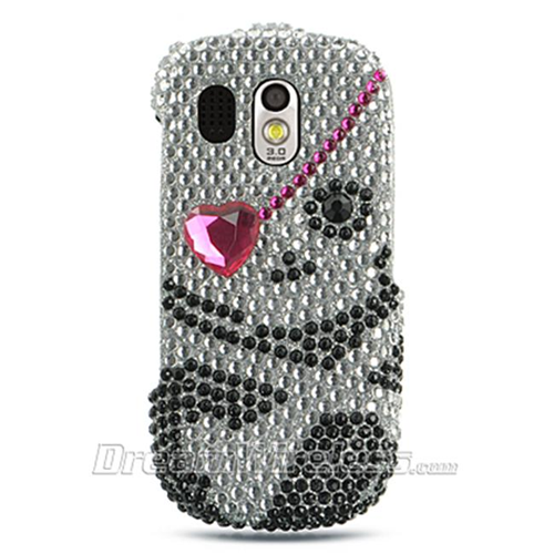 DreamWireless FDSAMR850BKSK1 Samsung R850 Caliber Full Diamond Case Black Skull No.1