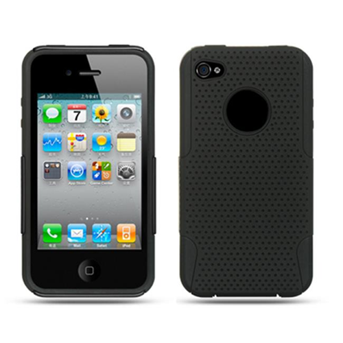 DreamWireless IP-SCRIP4VZBK-BKA iPhone 4S & iPhone 4 Compatible Hybrid Case - Black & Black