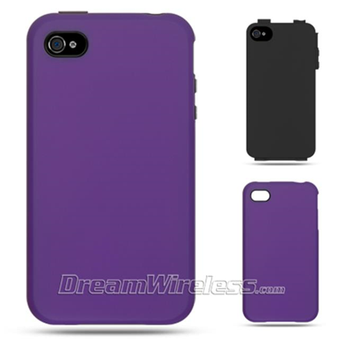 DreamWireless IP-HESCRIP4VZBK-PP iPhone 4 High-End Hybrids Black Skin Plus Purple Rubber