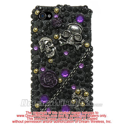 DreamWireless IP-F3DIP4BKPPSK iPhone 4S & iPhone 4 Compatible 3D Full Diamond Case - Black With Purple & Skull