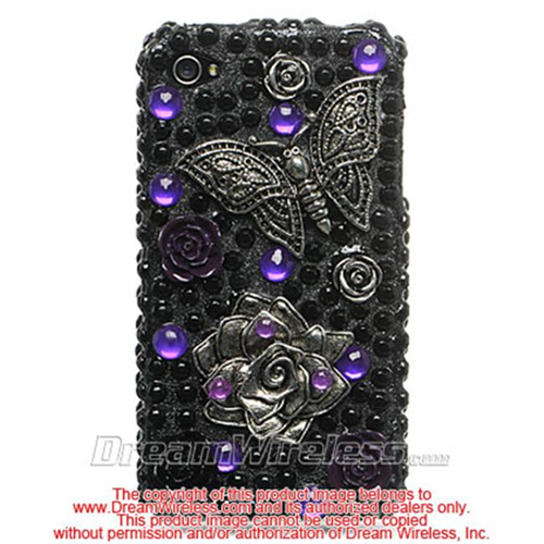 DreamWireless IP-F3DIP4BKFLBF iPhone 4S & iPhone 4 Compatible 3D Full Diamond Case - Black Flower & Butterfly