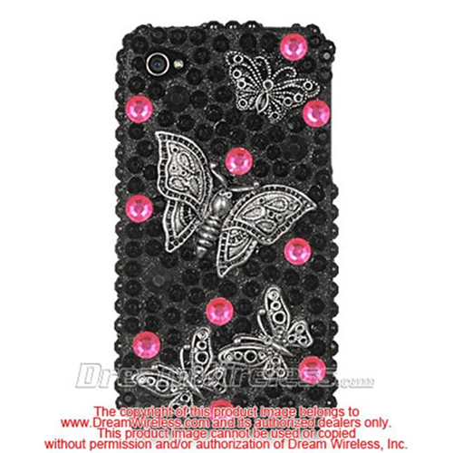 DreamWireless IP-F3DIP4BKBF iPhone 4S & iPhone 4 Compatible 3D Full Diamond Case - Black Butterfly