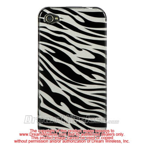 DreamWireless IP-CAIP4SLZ iPhone 4S & iPhone 4 Compatible Hd Crystal Case - Silver Plus Black Zebra
