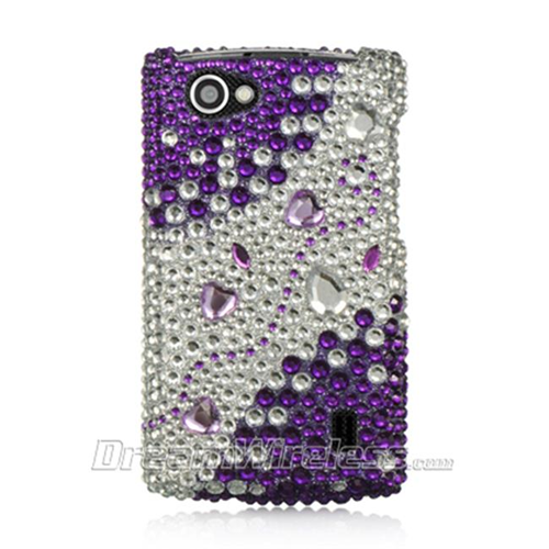 DreamWireless FDLGMS695PPSLRS LG Optimus M Plus Ms695 Full Diamond Case Purple Silver Rhinestone