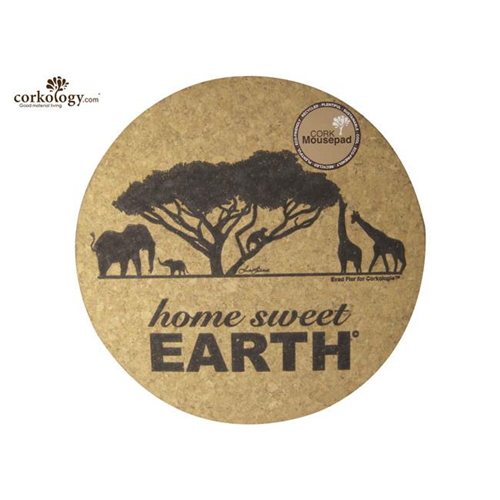 Corkology 205 Round Africa Cork Mouse Pad Home Sweet Earth