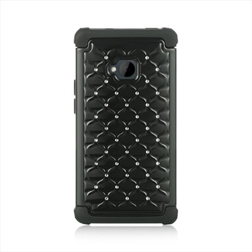 DreamWireless SCAHTCM7STDCKBK-BK HTC One M7 Compatible Hybrid Diamond Decor Case Black Skin Plus Black PC