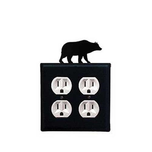 Village Wrought Iron EOO-14 Bear Outlet Cover Double - Black