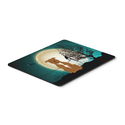 Carolines Treasures BB2237MP Halloween Scary Staffordshire Bull Terrier Brown Mouse Pad Hot Pad or Trivet