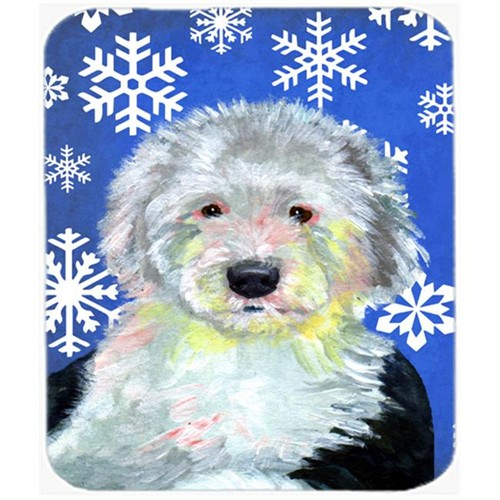 Carolines Treasures LH9306MP Old English Sheepdog Winter Snowflakes Holiday Mouse Pad Hot Pad Or Trivet - 7.75 x 9.25 In.