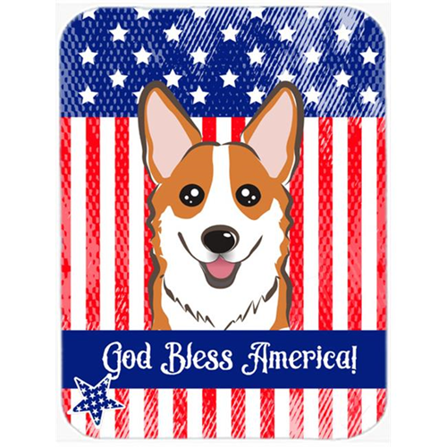 Carolines Treasures BB2184MP God Bless American Flag with Red Corgi Mouse Pad Hot Pad or Trivet