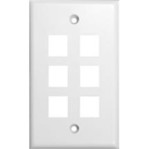 Morris Products 88170 Wallplate For Keystone Jacks And Modular Inserts Six Ports White
