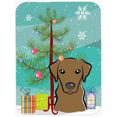 Carolines Treasures BB1606MP Christmas Tree And Chocolate Labrador Mouse Pad Hot Pad & Trivet