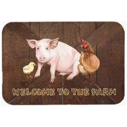 Carolines Treasures SB3083MP 7.75 x 9.25 In. Welcome To The Farm With The Pig And Chicken Mouse Pad Hot Pad Or Trivet