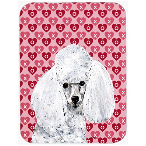 Carolines Treasures SC9701MP White Toy Poodle Hearts And Love Mouse Pad Hot Pad Or Trivet 7.75 x 9.25 In.
