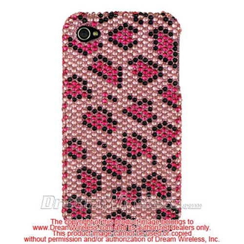 DreamWireless IP-FDIP4PKLE iPhone 4S & iPhone 4 Compatible Full Diamond Case - Pink Leopard