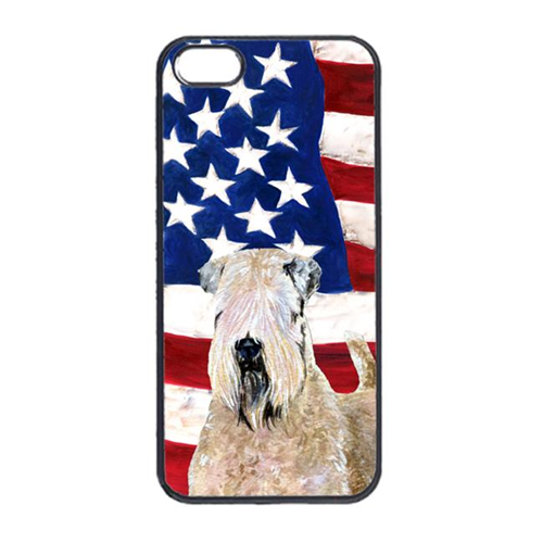 Carolines Treasures SS4019IP4 USA American Flag With Wheaten Terrier Soft Coated Iphone 4 Cover