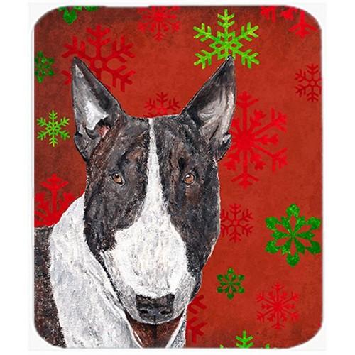 Carolines Treasures SC9589MP 7.75 x 9.25 in. Bull Terrier Red Snowflake Christmas Mouse Pad Hot Pad or Trivet