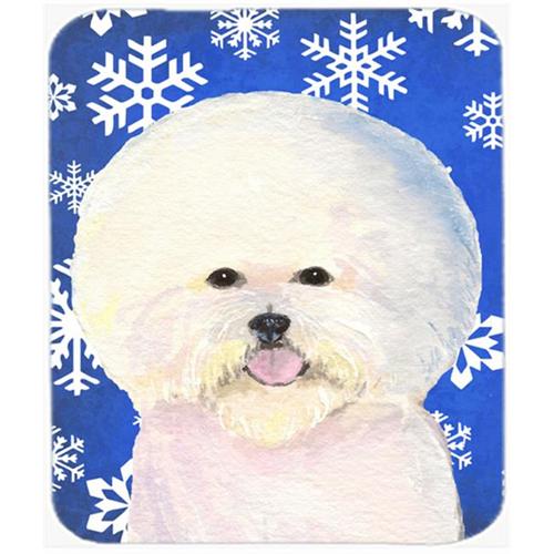 Carolines Treasures SS4664MP Bichon Frise Winter Snowflakes Holiday Mouse Pad Hot Pad or Trivet