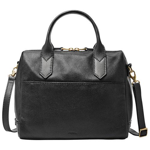 Fossil Fiona Leather Satchel Bag - Black : Satchel Bags - Best Buy ...