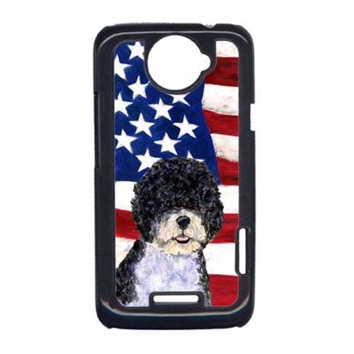Carolines Treasures SS4053HTCONE USA American Flag With Portuguese Water Dog HTC One X Cell Phone Cover