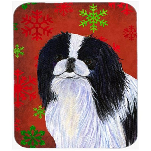 Carolines Treasures SS4674MP Japanese Chin Red and Green Snowflakes Christmas Mouse Pad Hot Pad or Trivet