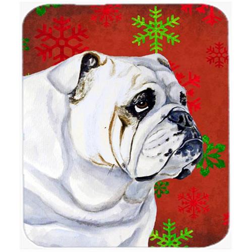 Carolines Treasures LH9319MP Bulldog English Red And Green Snowflakes Christmas Mouse Pad Hot Pad Or Trivet