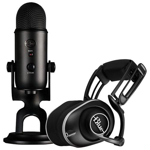 Ensemble Pro Gamer avec microphone Blackout Yeti et casque d'écoute Lola de Blue Microphones