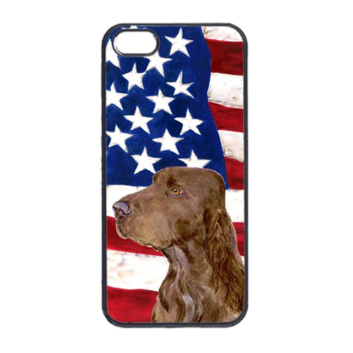 Carolines Treasures SS4010IP4 USA American Flag With Field Spaniel Iphone 4 Cover