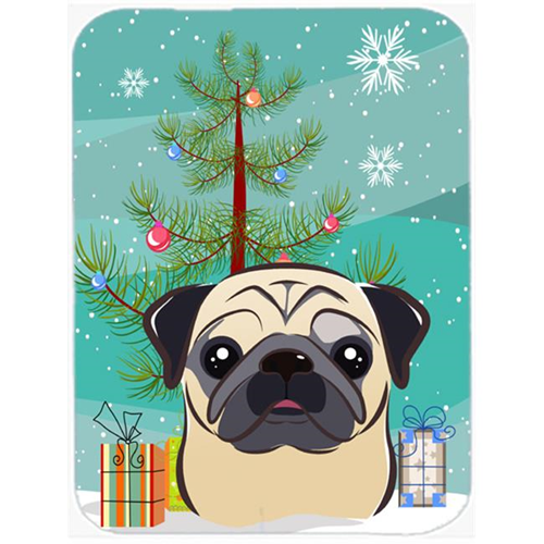 Carolines Treasures BB1634MP Christmas Tree And Fawn Pug Mouse Pad Hot Pad & Trivet