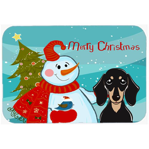 Carolines Treasures BB1835MP Snowman With Smooth Black And Tan Dachshund Mouse Pad Hot Pad & Trivet
