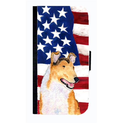 Carolines Treasures SS4226NBGALAXYS4 USA American Flag With Collie Smooth Cell Phonebook Case Cover For Galaxy 4S